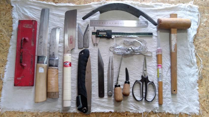 竹工芸竹細工で使う道具一覧の写真